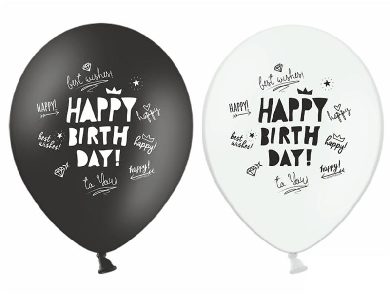 Ballon Happy Birthday zwart-wit (10 st)