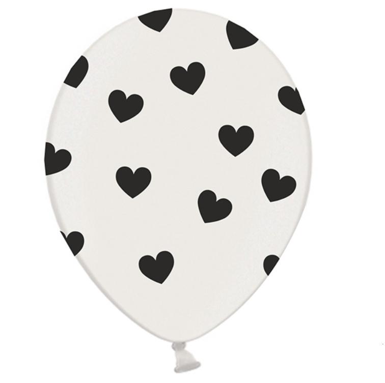 Ballon Hearts zwart/wit (6 st)