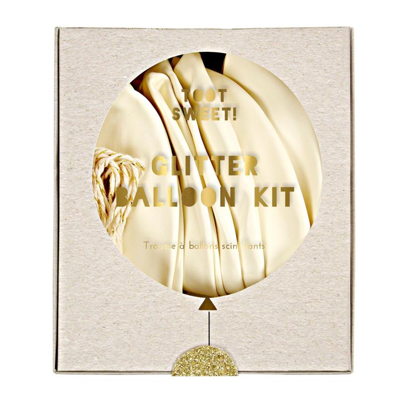 Glitter ballon wit met goud