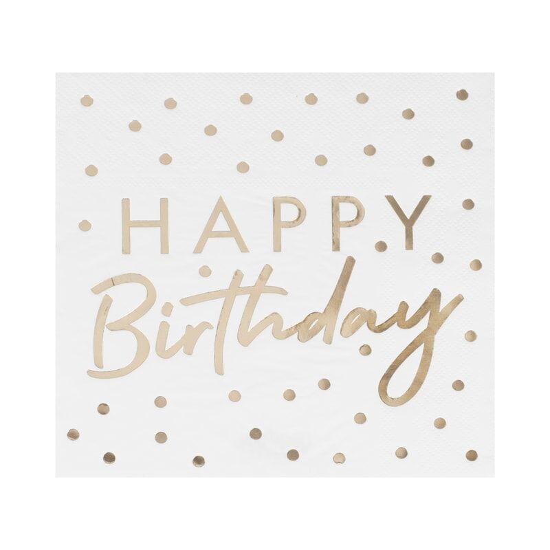 Happy Birthday servet, gouden bedrukking
