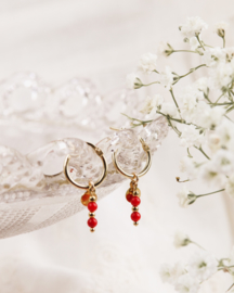 Coral coins earrings