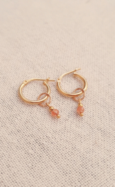Sunstone circle earrings