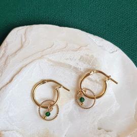 Oorbellen circle smaragd