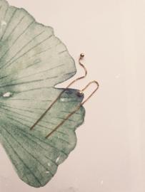 Bowl chain oorbellen goud