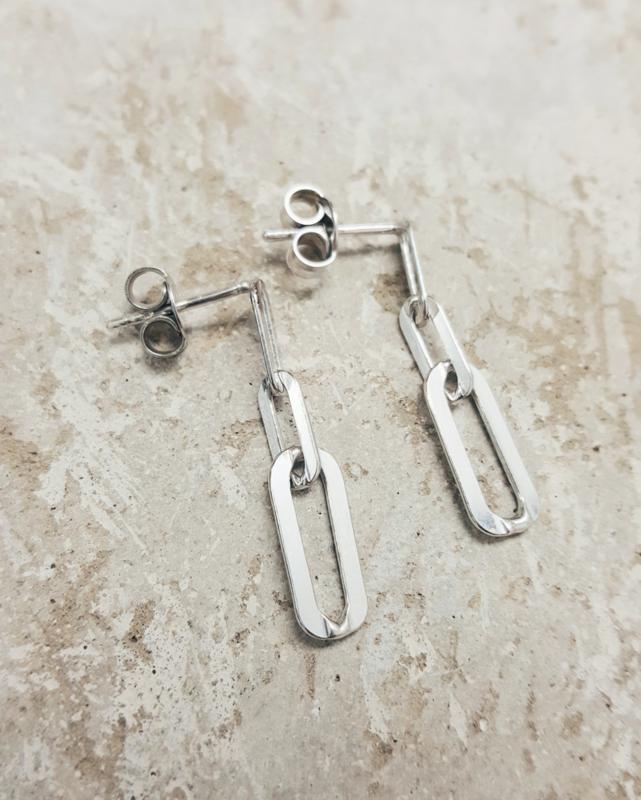 Oorbellen Ovaal Chain zilver