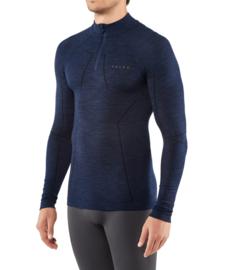 Falke - Lange mouwen shirt met rits - donkerblauw - Scheerwol