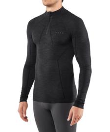 Falke - Lange mouwen shirt met rits - zwart - Scheerwol