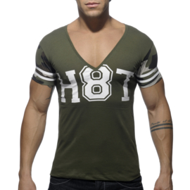 Addicted H8T V-Neck T-Shirt Khaki