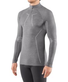 Falke - Lange mouwen shirt met rits - grijs-heater - Scheerwol