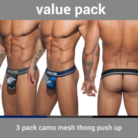 Addicted 3 Pack Camo Mesh String Push-Up