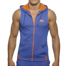 Addicted Sleeveless Loop-Mesh Hoody Blauw
