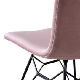 Velvet eetkamerstoel pink