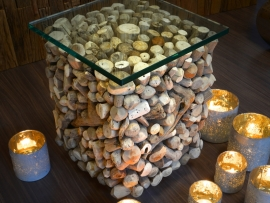 Koffie tafel met glazen blad