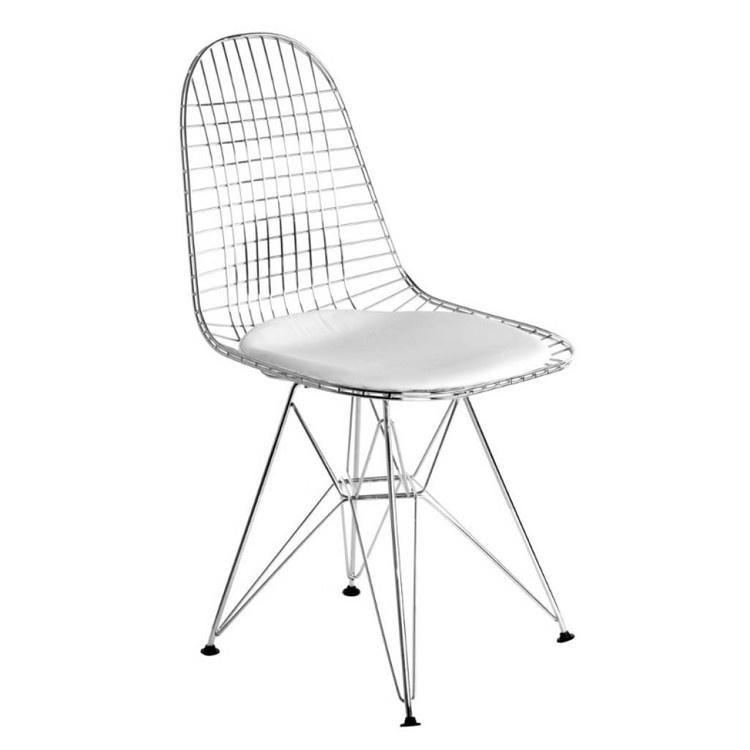 DKR style eetkamer stoel - chroom met zwart óf wit kussen