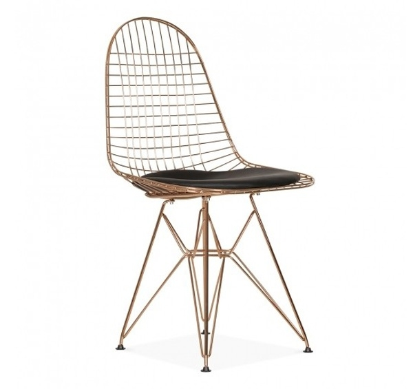 DKR style stoel koper met zwart kussen