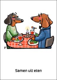 Teckel Tobie Samen uit eten - ansichtkaart - TT4-A26