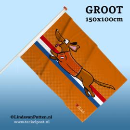 Teckel Rennend Oranje Vlag Groot 150x100cm