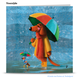 Teckel Tobie Paraplu - wenskaart - TT1-W02