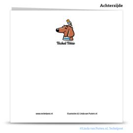 Teckel Tobie Cadeautje - wenskaart - TT2-W12B