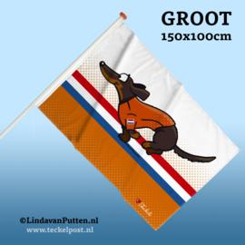 Teckel Rennend Black&Tan Vlag Groot 150x100cm