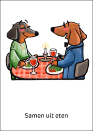 Teckel Tobie Samen uit eten - ansichtkaart - TT4-A26B