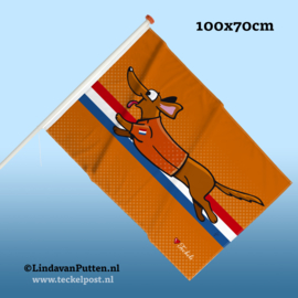 Pre-Order - Teckel Rennend Oranje Vlag 100x70cm