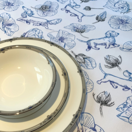 Tafelloper 150x50cm, Blauw-Wit