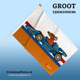 RACE AUTO TECKEL Vlag Groot 150x100cm