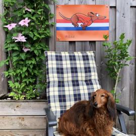 ACTIE: Teckel Tuinposter Oranje Snel