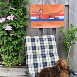ACTIE: Teckel Tuinposter Oranje Rennen