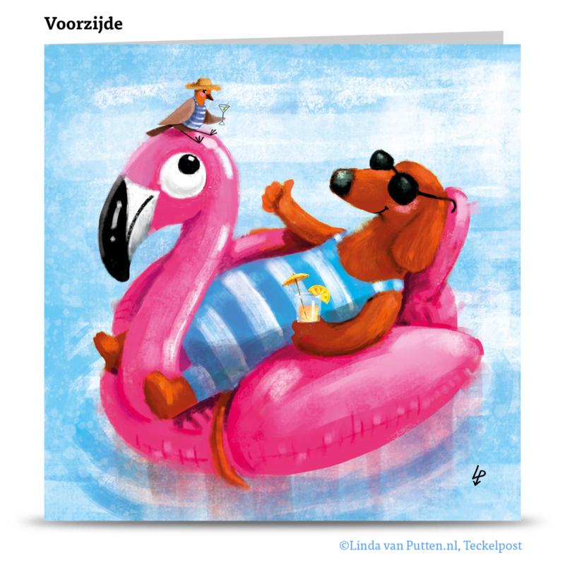 Teckel Tobie Flamingo - wenskaart - TT1-W10B