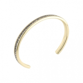 Twisted Side Bangle Stainless Steel Zirkonia Crystal Goud