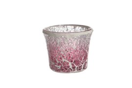 Pink Fade Crackle Votive Holder