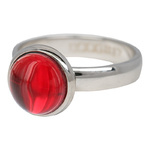 4 mm Ring Red Stone Zilver