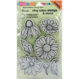 "Stampendous Fran's Cling Stamps & Stencil 5""X7"" Daisy Mix"