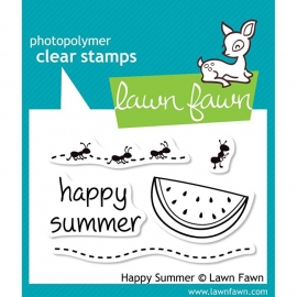 "Lawn Fawn Clear Stamps 3""X2"" Happy Summer"
