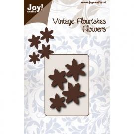 Cutting stencil - Vintage Flourishes Bloem met 6 B bladeren puntig