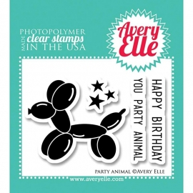 "Avery Elle Clear Stamp Set 2""X3"" Party animal"