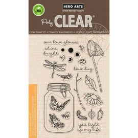 "Hero Arts Clear Stamps 4""X6"" Mason Jar Bugs"