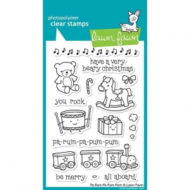 """Lawn Fawn Clear Stamps 4""""X6"""" Pa-Rum-Pa-Pum-Pum"""