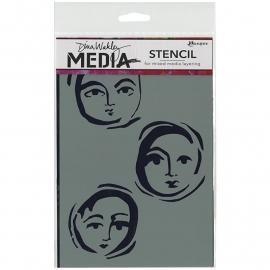 "Dina Wakley Media Stencils 9""X6"" Moon Faces"