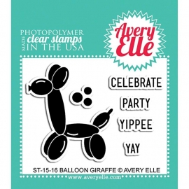 "Avery Elle Clear Stamp Set 2""X3"" Balloon Giraffe"