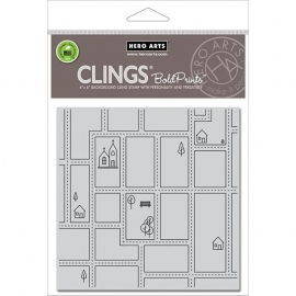 "Hero Arts Cling Stamps 6""X6"" Streetmap"