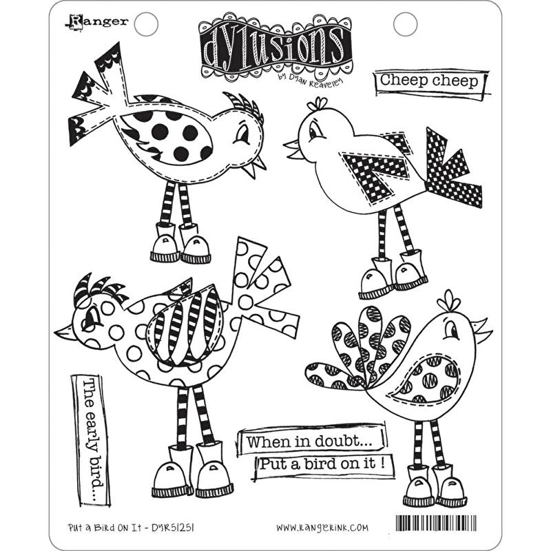 """Dyan Reaveley's Dylusions Cling Stamp Collections 8.5""""X7"""" Put a bird on it"""