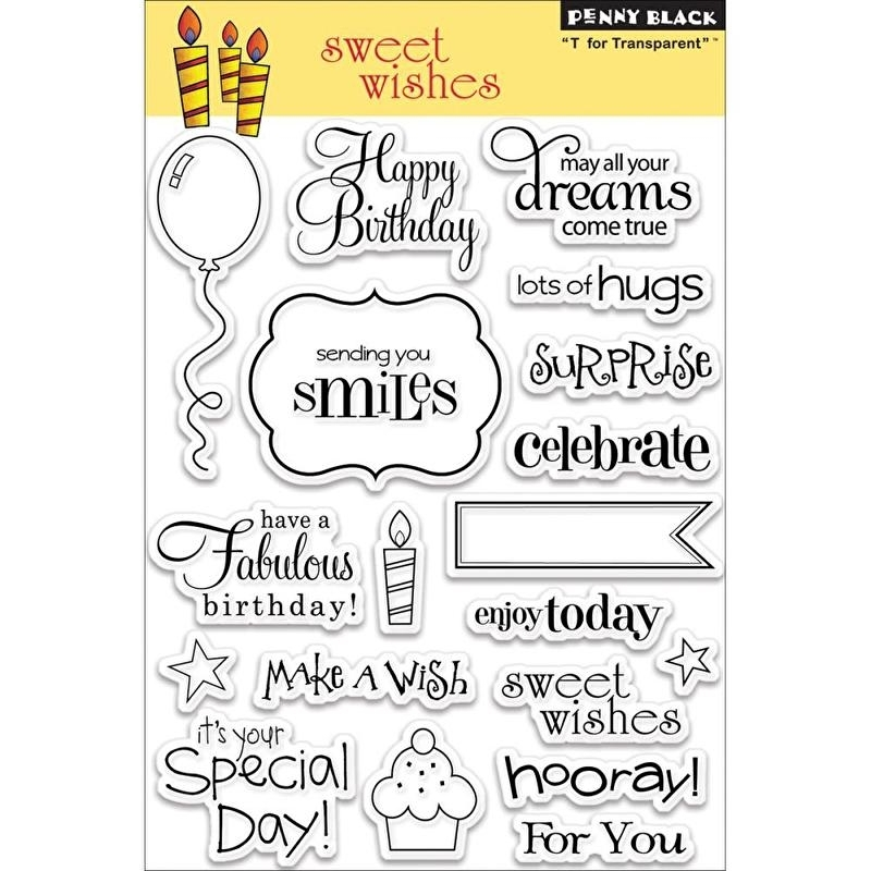 "Penny Black Clear Stamps 5""X7"" Sweet Wishes"
