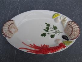 model Ovale Visschaal / bord met schelpen en kreeft ( klein )