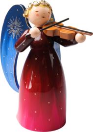 553/4R/2R Engel groot 17 cm rechtop staand met viool ( Rood )