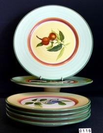 model Country Collection  Taartschaal op voet,  bord 33 cm, 4 borden 26 cm