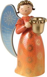 553/4R/oranje Engel groot 17 cm met kaarshouder