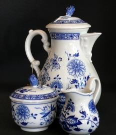 model Blau Zwiebelmuster 3 delig Koffie servies